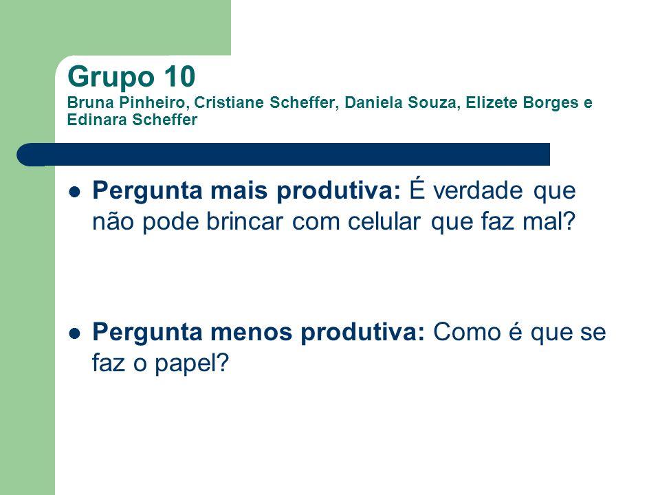 Grupo 10 Bruna Pinheiro, Cristiane Scheffer, Daniela Souza, Elizete Borges e Edinara Scheffer