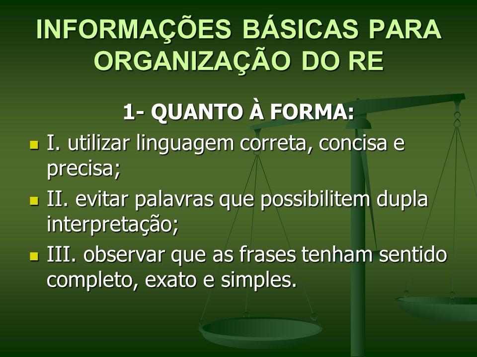 INFORMAÇÕES BÁSICAS PARA ORGANIZAÇÃO DO RE