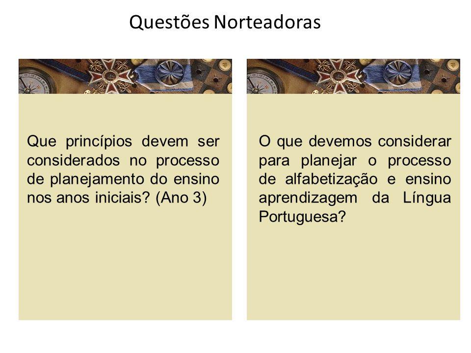 Questões Norteadoras Que princípios devem ser considerados no processo de planejamento do ensino nos anos iniciais (Ano 3)