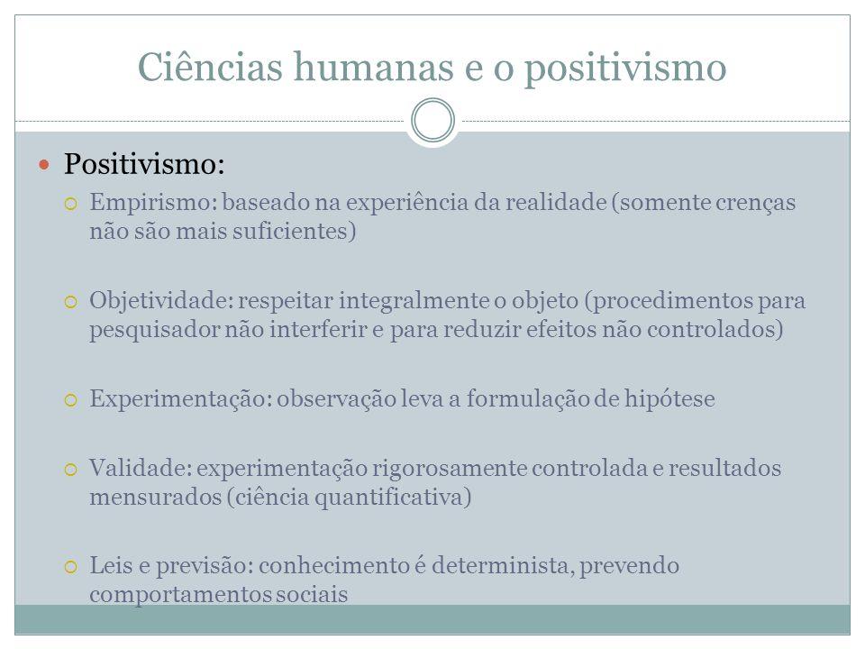 Ciências humanas e o positivismo