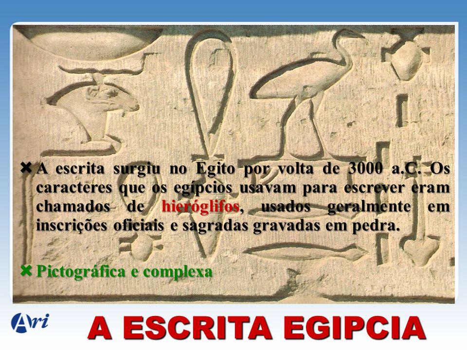 A escrita surgiu no Egito por volta de 3000 a. C