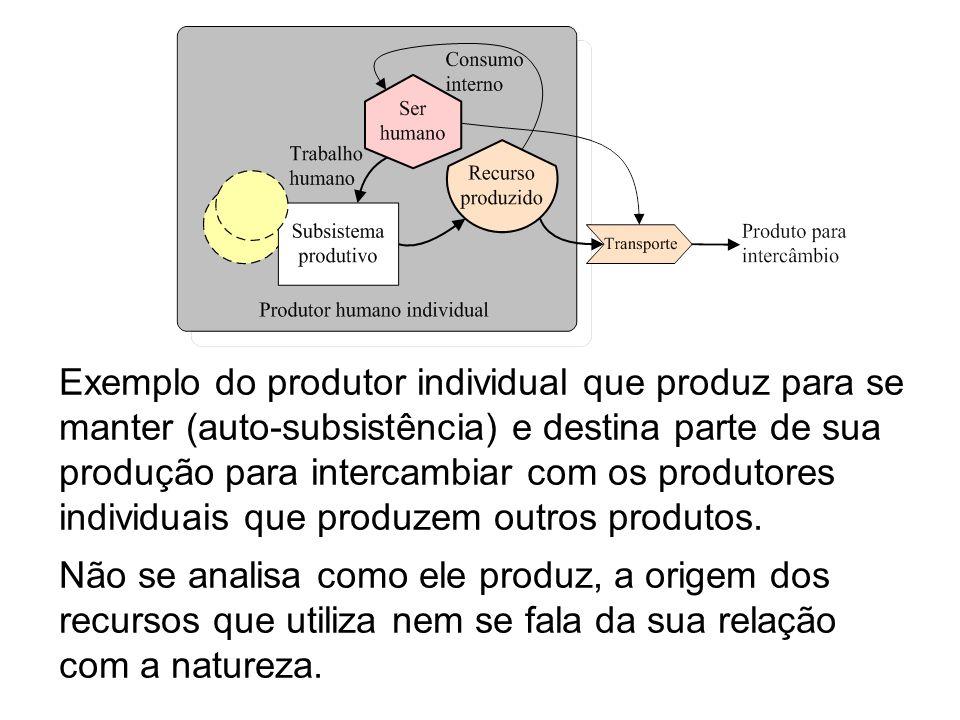 Exemplo do produtor individual que produz para se manter (auto-subsistência) e destina parte de sua produção para intercambiar com os produtores individuais que produzem outros produtos.