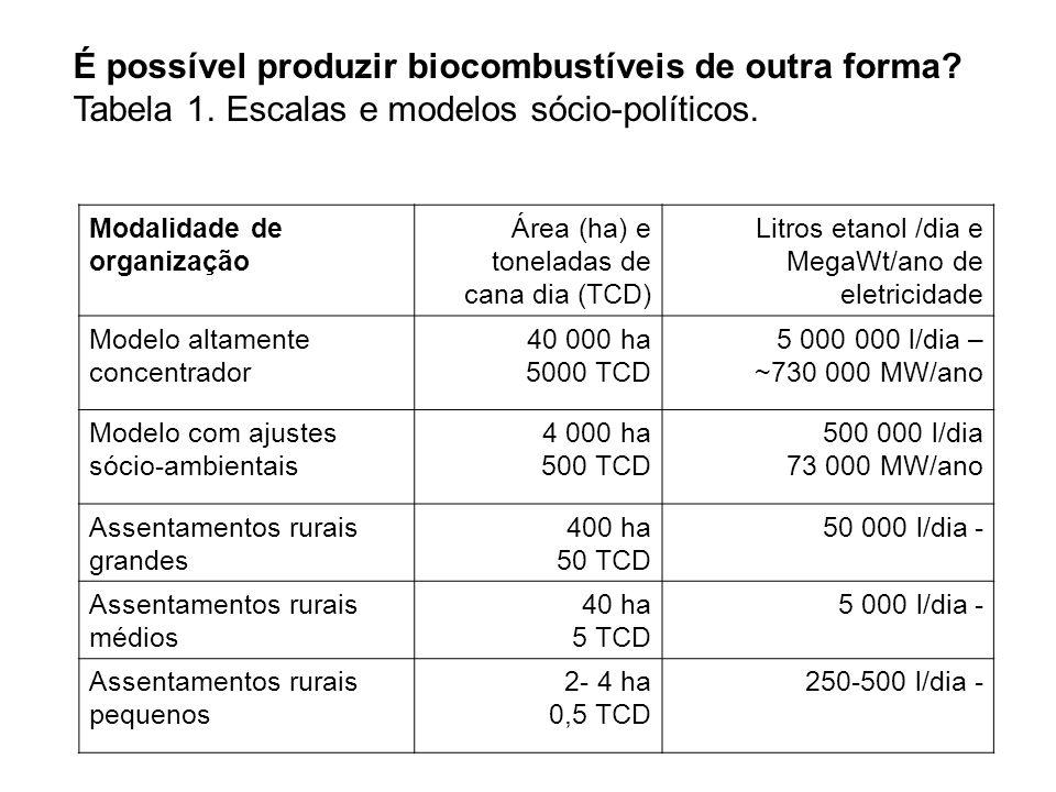 É possível produzir biocombustíveis de outra forma. Tabela 1