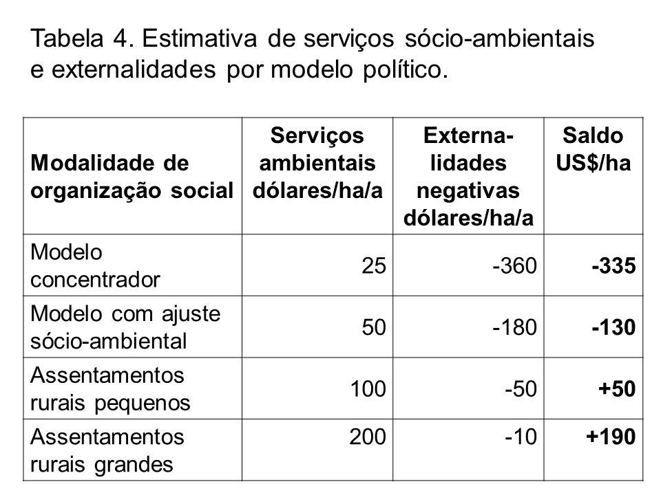 Tabela 4. Estimativa de serviços sócio-ambientais e externalidades por modelo político.