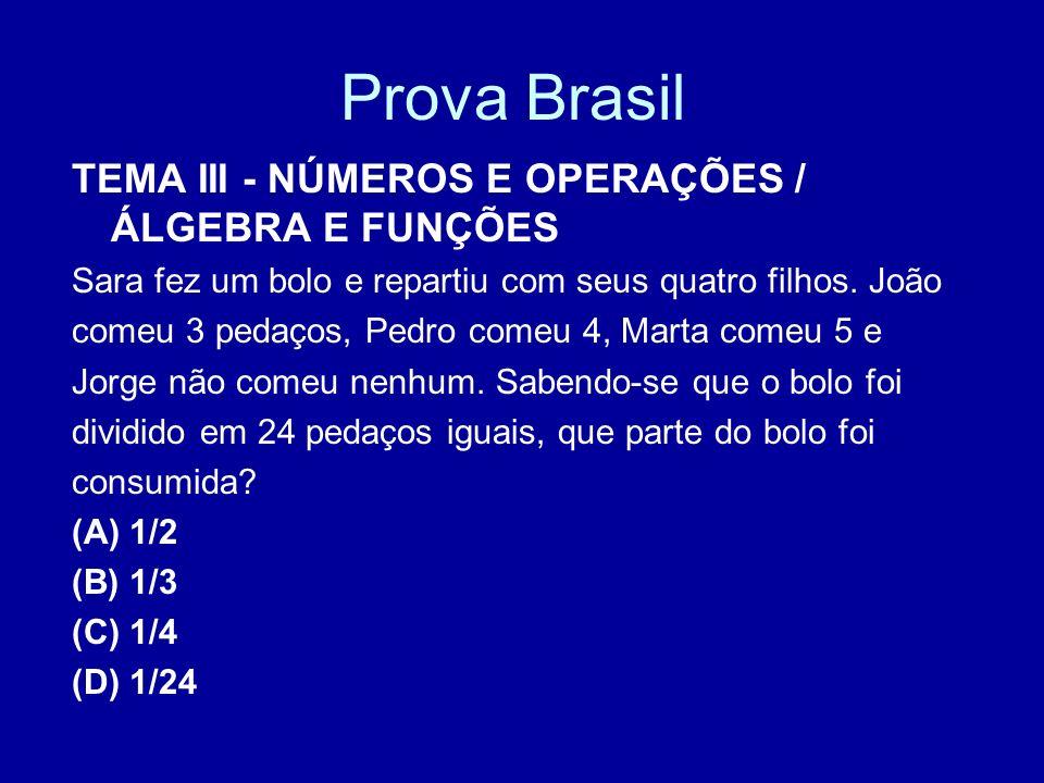 Prova Brasil TEMA III - NÚMEROS E OPERAÇÕES / ÁLGEBRA E FUNÇÕES