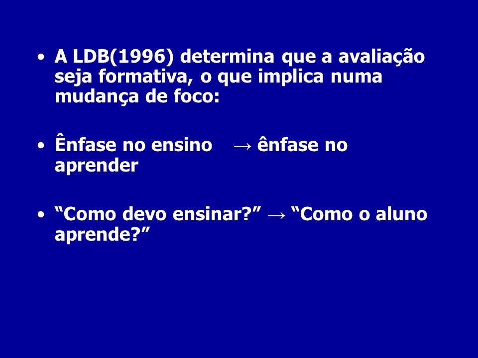 A LDB(1996) determina que a avaliação seja formativa, o que implica numa mudança de foco: