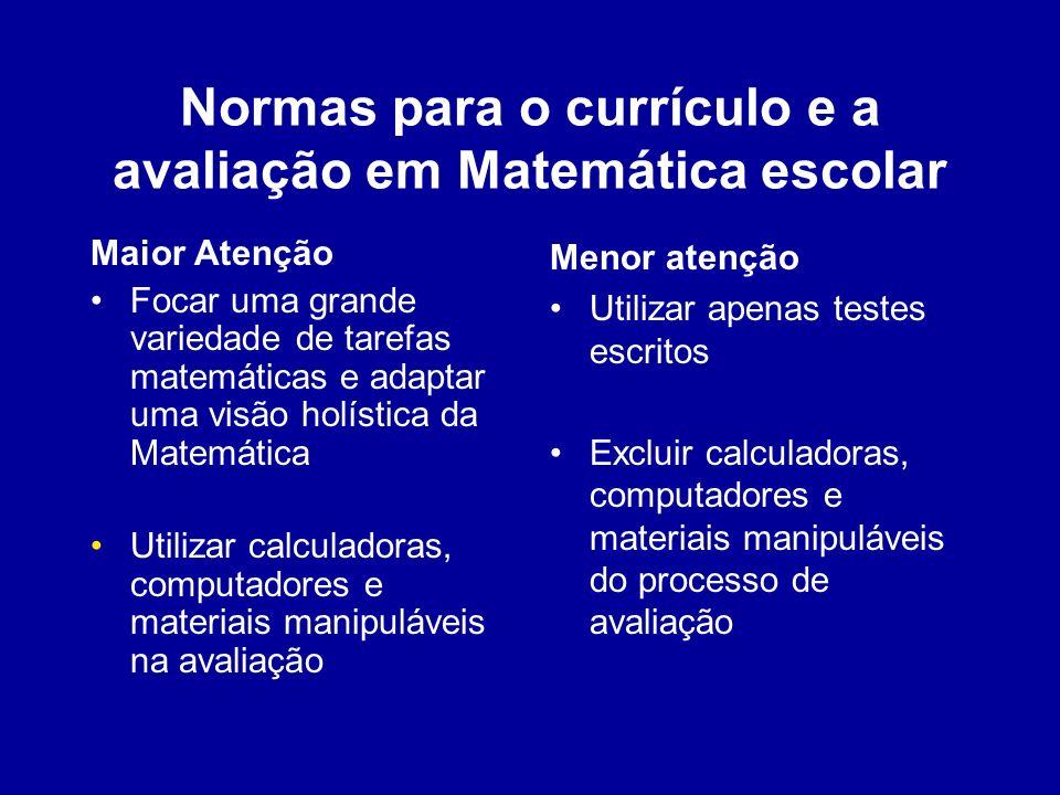 Normas para o currículo e a avaliação em Matemática escolar