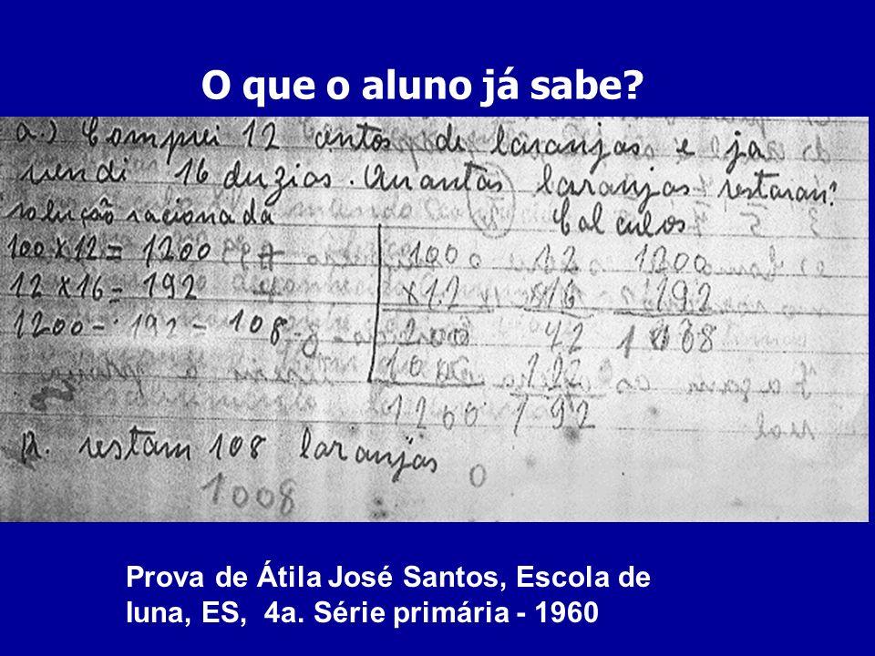 O que o aluno já sabe Prova de Átila José Santos, Escola de Iuna, ES, 4a. Série primária - 1960