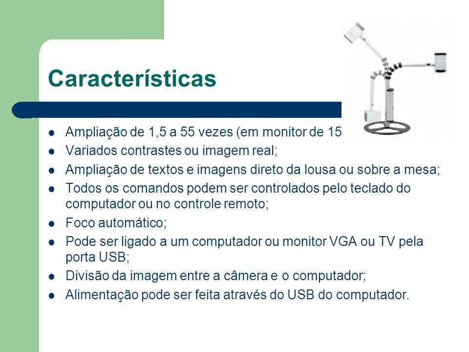 Características Ampliação de 1,5 a 55 vezes (em monitor de 15 );