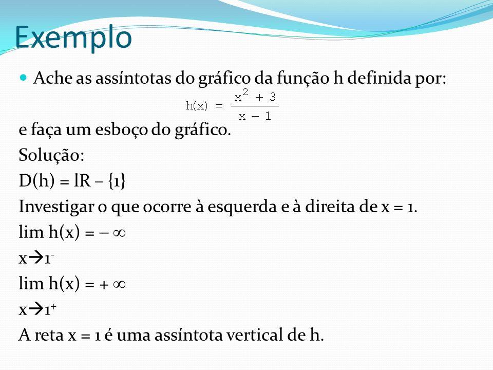 Exemplo Ache as assíntotas do gráfico da função h definida por: