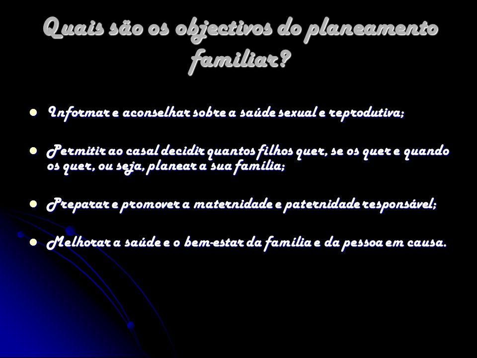 Quais são os objectivos do planeamento familiar