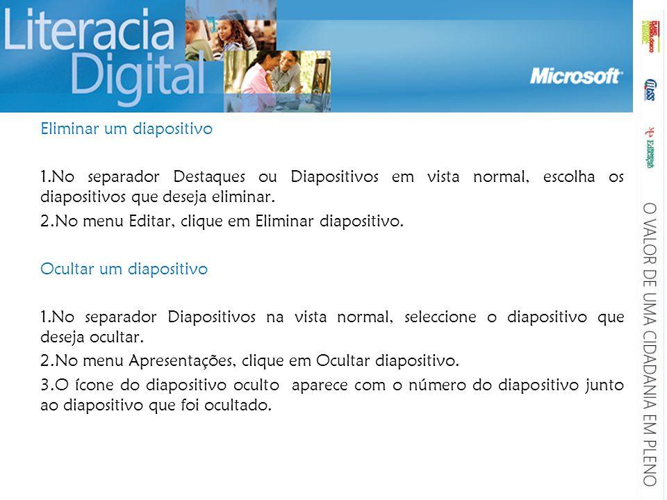 Eliminar um diapositivo