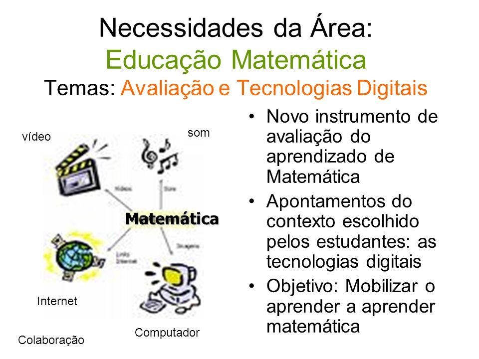 Necessidades da Área: Educação Matemática Temas: Avaliação e Tecnologias Digitais