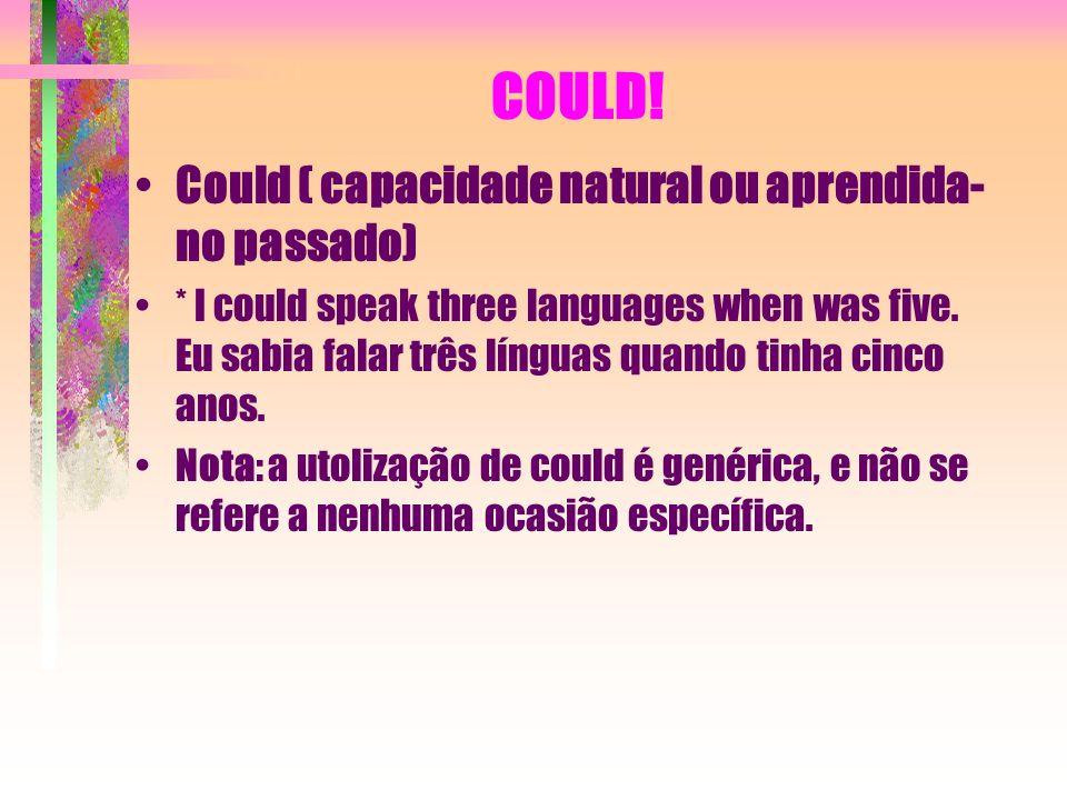 COULD! Could ( capacidade natural ou aprendida- no passado)