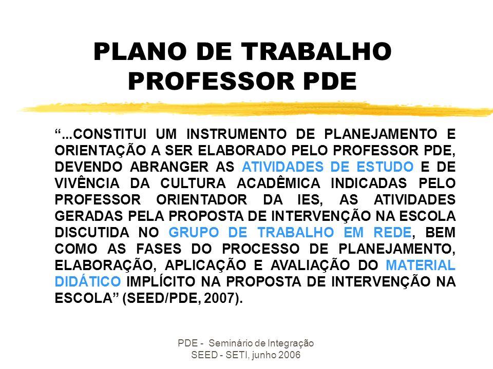 PLANO DE TRABALHO PROFESSOR PDE