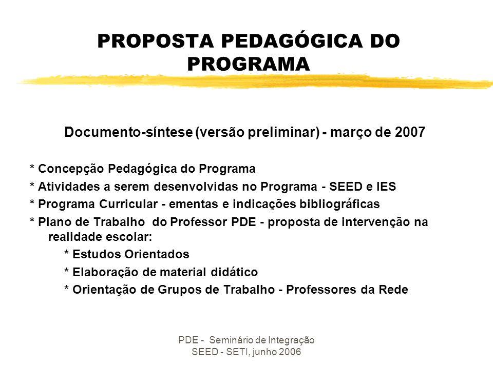 PROPOSTA PEDAGÓGICA DO PROGRAMA