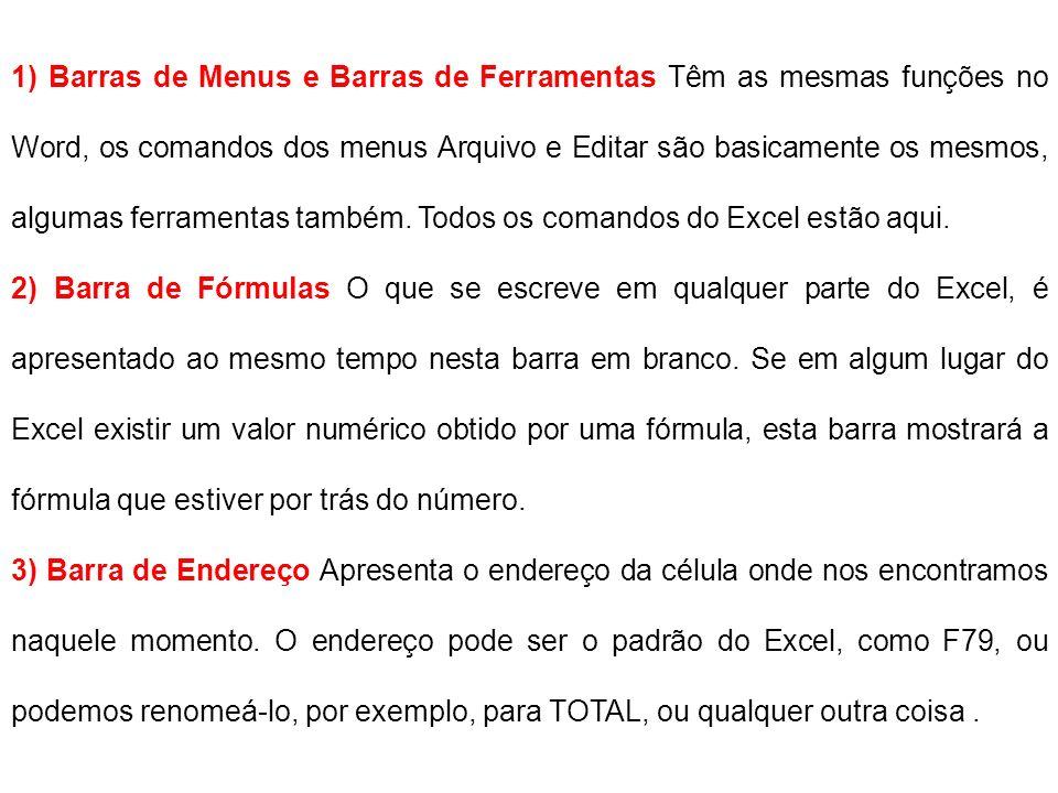 1) Barras de Menus e Barras de Ferramentas Têm as mesmas funções no Word, os comandos dos menus Arquivo e Editar são basicamente os mesmos, algumas ferramentas também. Todos os comandos do Excel estão aqui.