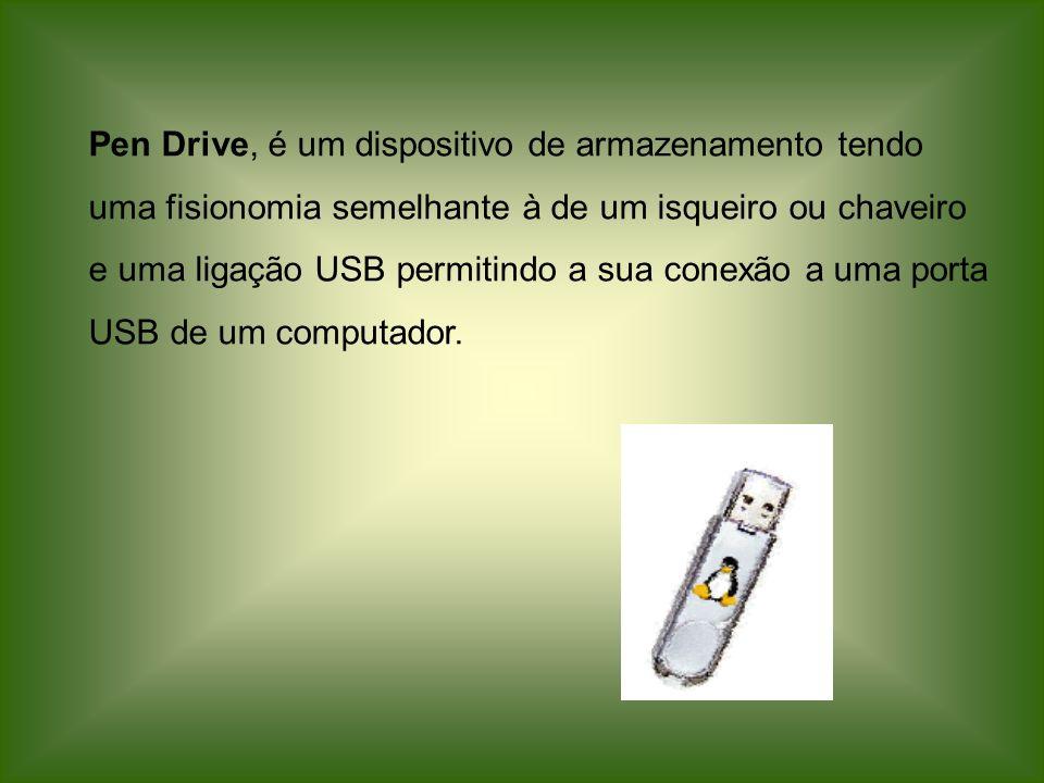 Pen Drive, é um dispositivo de armazenamento tendo uma fisionomia semelhante à de um isqueiro ou chaveiro e uma ligação USB permitindo a sua conexão a uma porta USB de um computador.