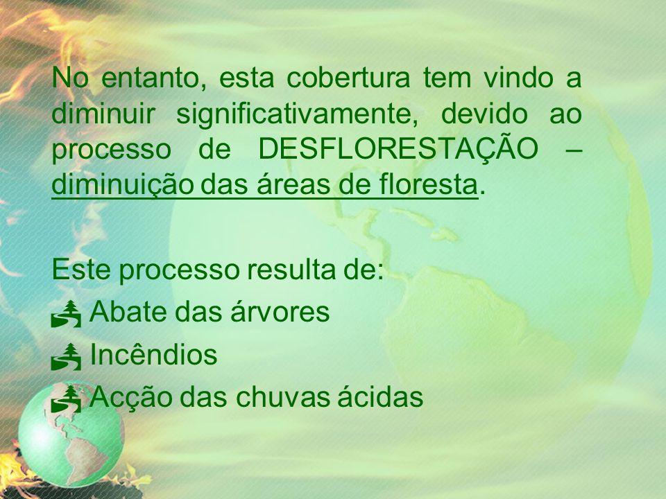 No entanto, esta cobertura tem vindo a diminuir significativamente, devido ao processo de DESFLORESTAÇÃO – diminuição das áreas de floresta.