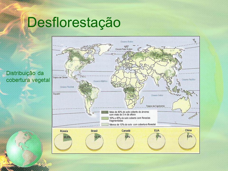 Desflorestação Distribuição da cobertura vegetal