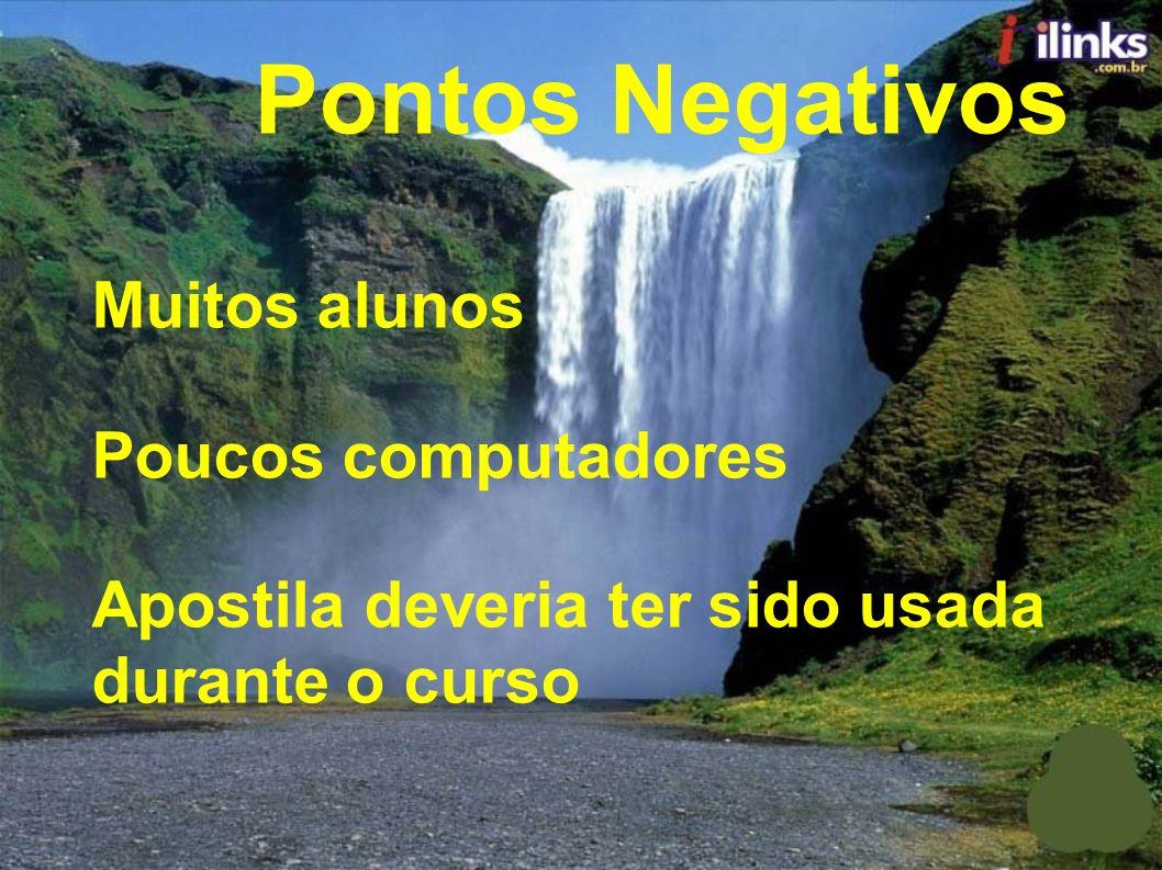 Pontos Negativos Muitos alunos Poucos computadores