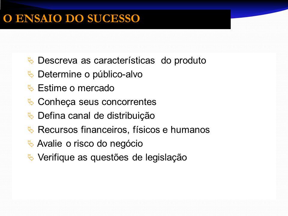 O ENSAIO DO SUCESSO Descreva as características do produto