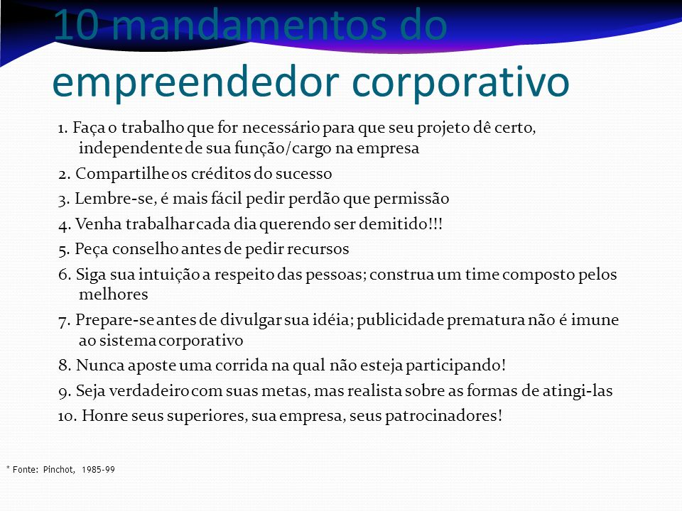 10 mandamentos do empreendedor corporativo