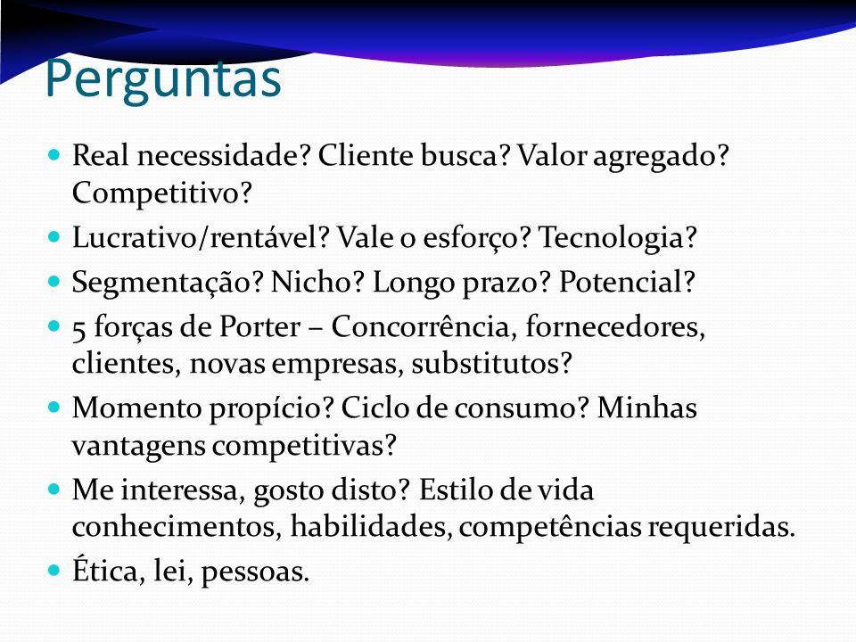 Perguntas Real necessidade Cliente busca Valor agregado Competitivo Lucrativo/rentável Vale o esforço Tecnologia