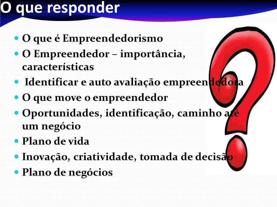 O que responder O que é Empreendedorismo