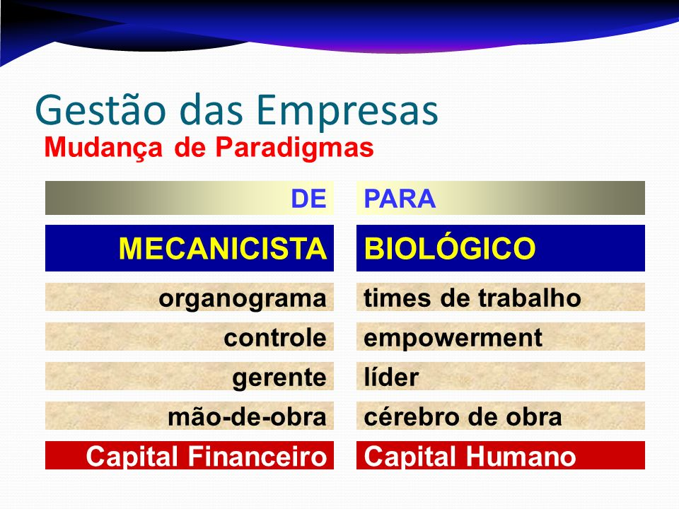 Gestão das Empresas BIOLÓGICO MECANICISTA Mudança de Paradigmas