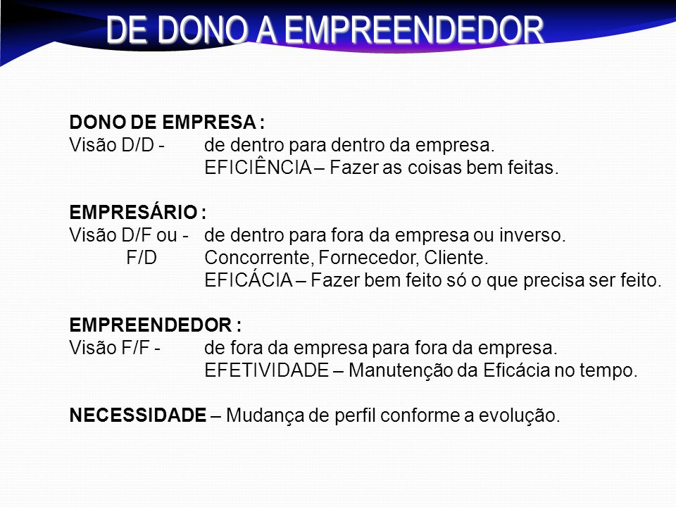 DE DONO A EMPREENDEDOR DONO DE EMPRESA :