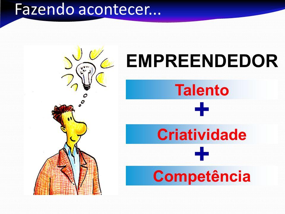 Fazendo acontecer... EMPREENDEDOR Talento Criatividade Competência +