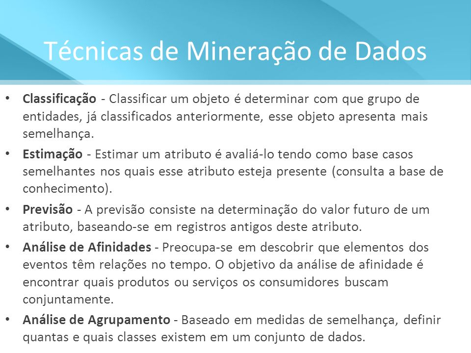 Técnicas de Mineração de Dados