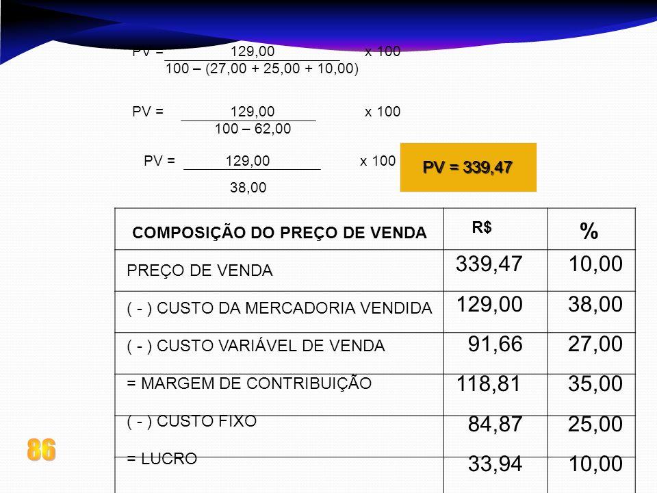 PV = 129,00 x 100100 – (27,00 + 25,00 + 10,00) PV = 129,00 x 100.