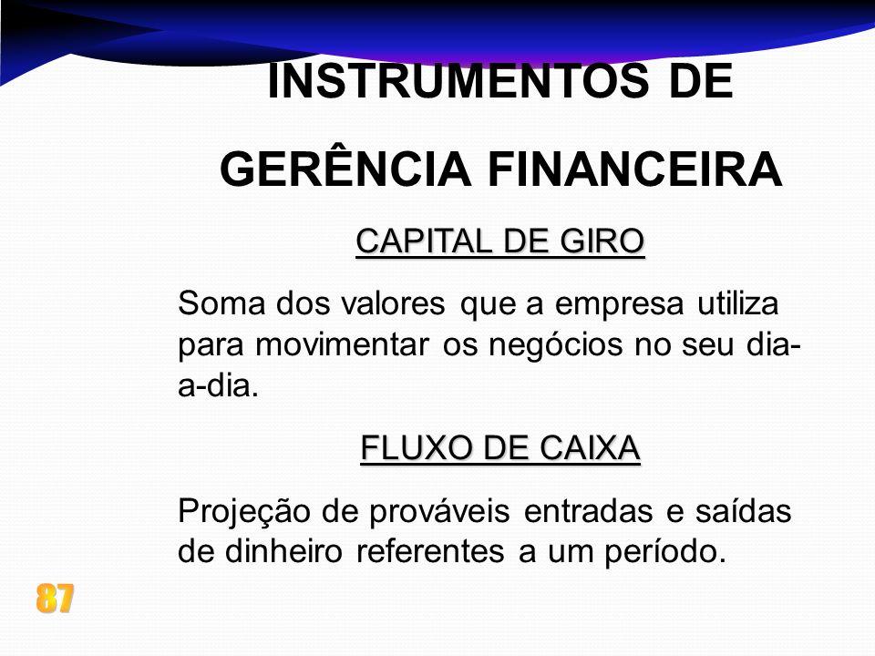 INSTRUMENTOS DE GERÊNCIA FINANCEIRA