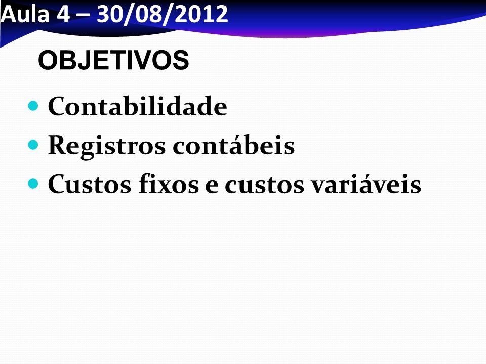 Aula 4 – 30/08/2012 OBJETIVOS Contabilidade Registros contábeis Custos fixos e custos variáveis