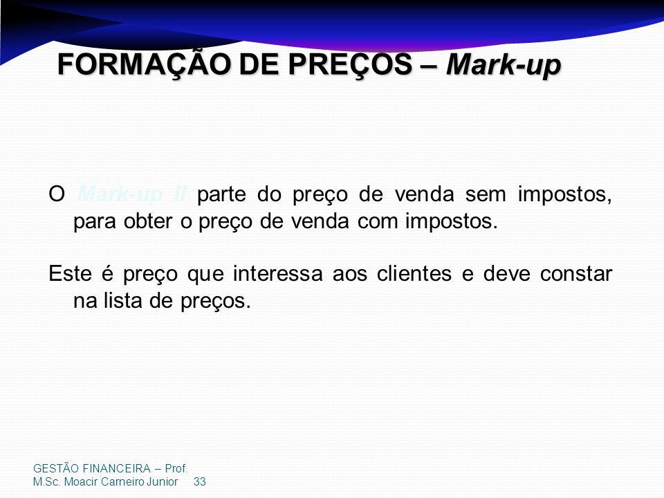 FORMAÇÃO DE PREÇOS – Mark-up
