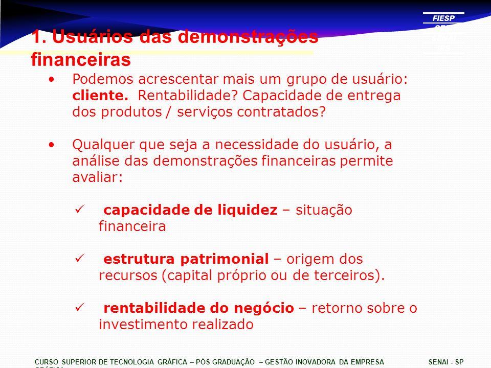 1. Usuários das demonstrações financeiras
