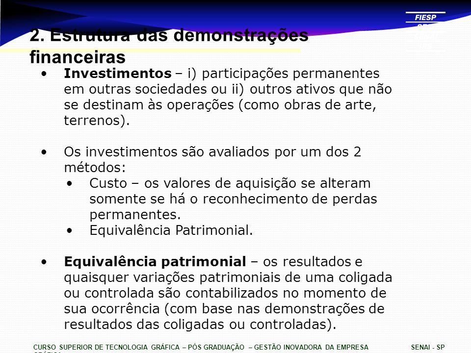 2. Estrutura das demonstrações financeiras