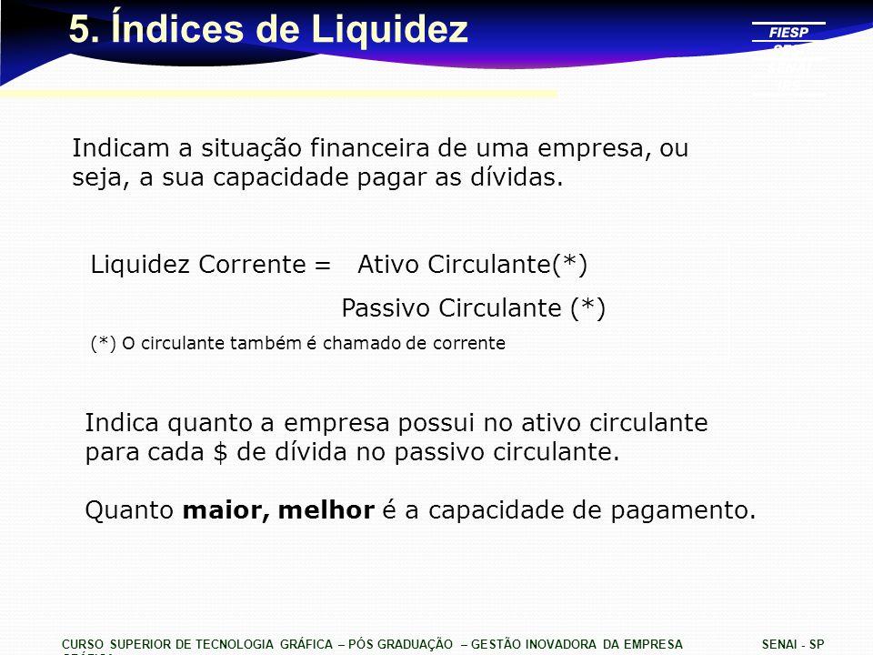 5. Índices de Liquidez Indicam a situação financeira de uma empresa, ou seja, a sua capacidade pagar as dívidas.