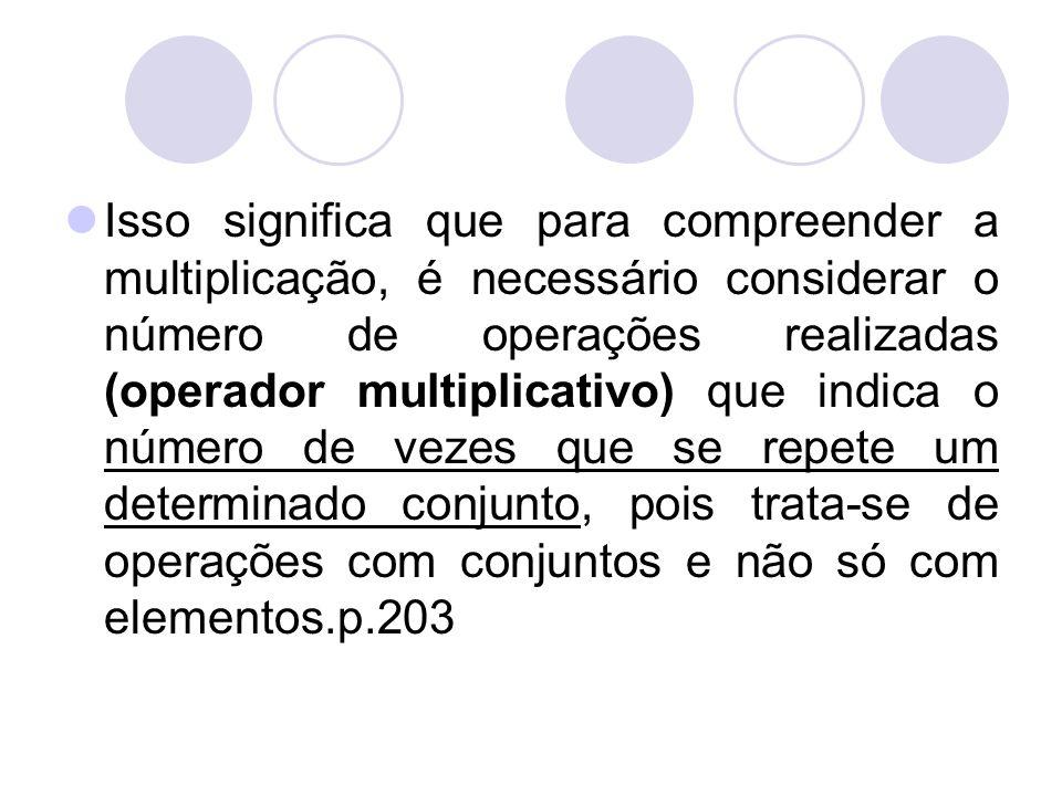 Isso significa que para compreender a multiplicação, é necessário considerar o número de operações realizadas (operador multiplicativo) que indica o número de vezes que se repete um determinado conjunto, pois trata-se de operações com conjuntos e não só com elementos.p.203