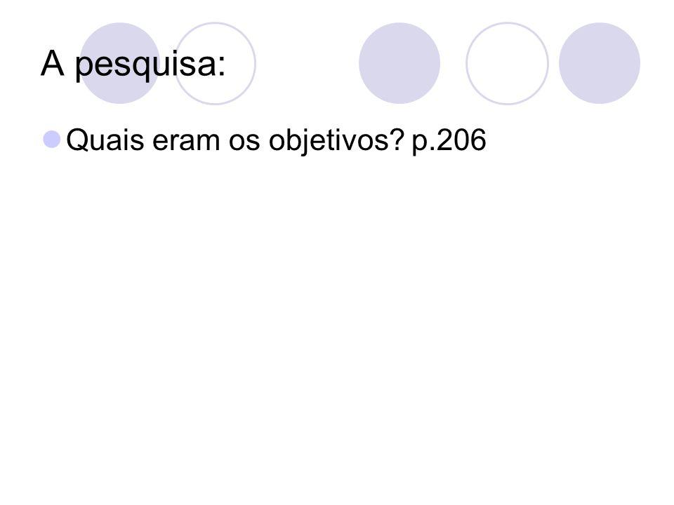 A pesquisa: Quais eram os objetivos p.206
