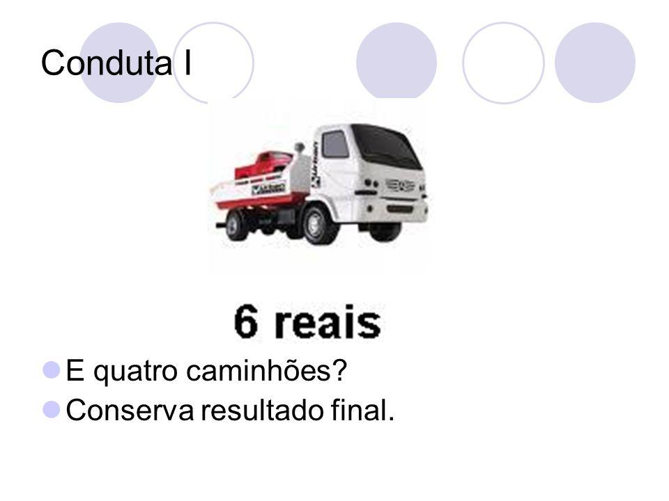 Conduta I E quatro caminhões Conserva resultado final.
