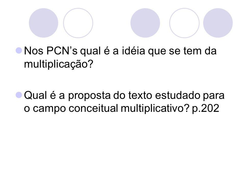 Nos PCN's qual é a idéia que se tem da multiplicação