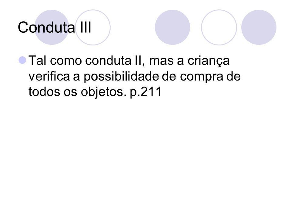 Conduta III Tal como conduta II, mas a criança verifica a possibilidade de compra de todos os objetos.