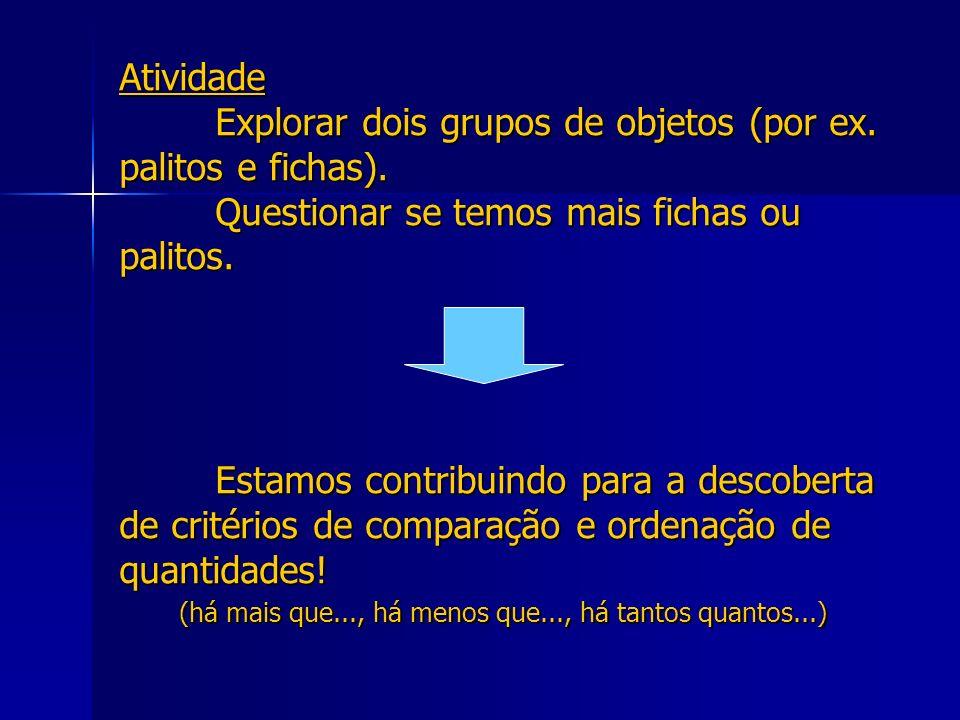 Atividade. Explorar dois grupos de objetos (por ex. palitos e fichas)