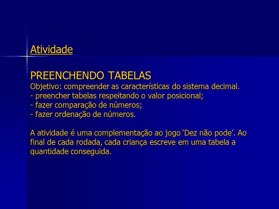 Atividade PREENCHENDO TABELAS Objetivo: compreender as características do sistema decimal.