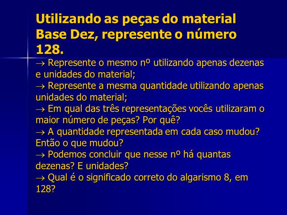 Utilizando as peças do material Base Dez, represente o número 128