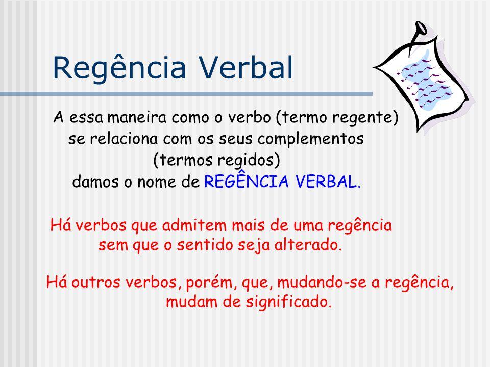 Regência Verbal A essa maneira como o verbo (termo regente)