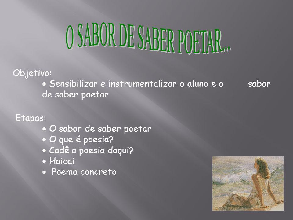 O SABOR DE SABER POETAR... Objetivo: